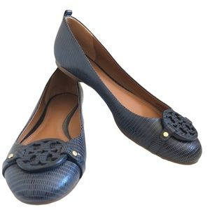 Tory Burch Claire Flats Sz 10 Snakeskin Leather